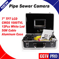 Industrial Video Pipe Inspection Camera 50m Cable CCTV Drain Sewer Plumbing test equipment System CMOS 1000TVL Night vision