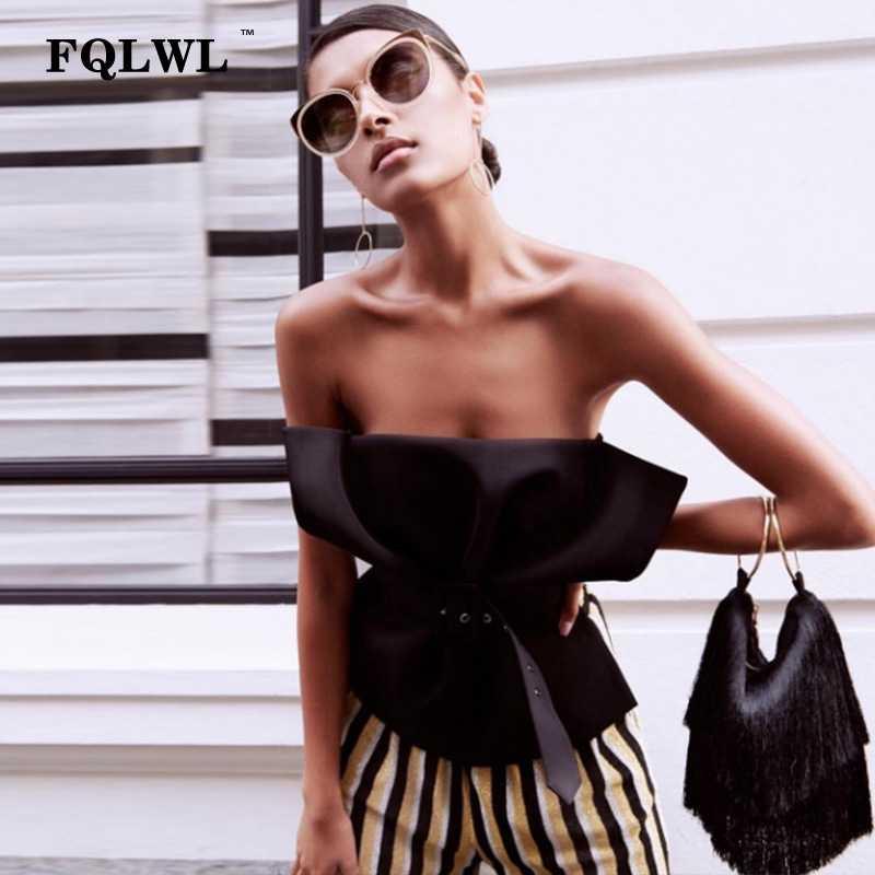 0655aacc54afd4 FQLWL пикантные с открытыми плечами женский короткий Топ без бретелек  спинки тонкий черный, белый цвет