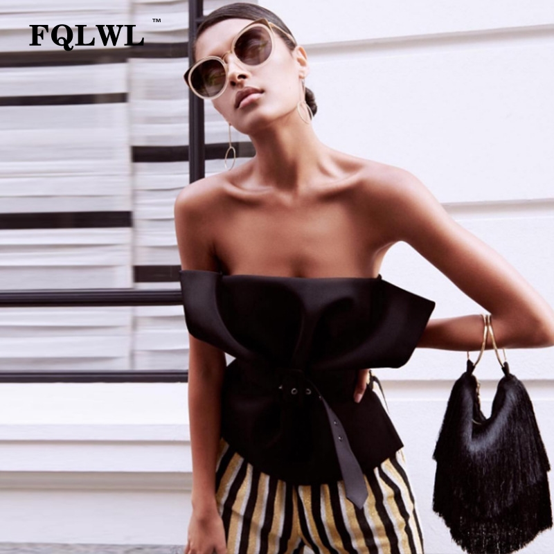 FQLWL Sexy Off Shoulder Crop Top Femme Strapless Backless Slim Black White Tank Top Elegant Party Bustier Top Women Summer 2018