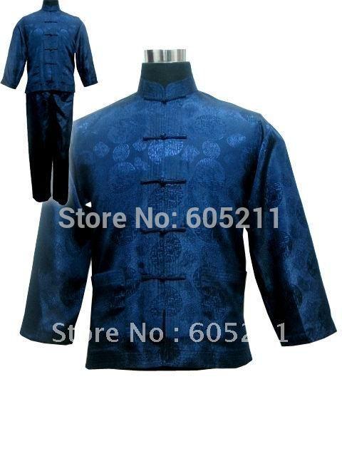 Wholesale Newfashioned Chinese style A suit of Men s Kimono Robe Gown Pyjamas Sleepwear Navy blue