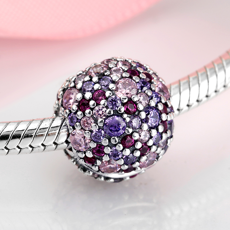 Real 925 sterling silver charm Pink purple Colourful Round beads Shape for clips Fit Original Pandora Charms Bracelet Jewelry