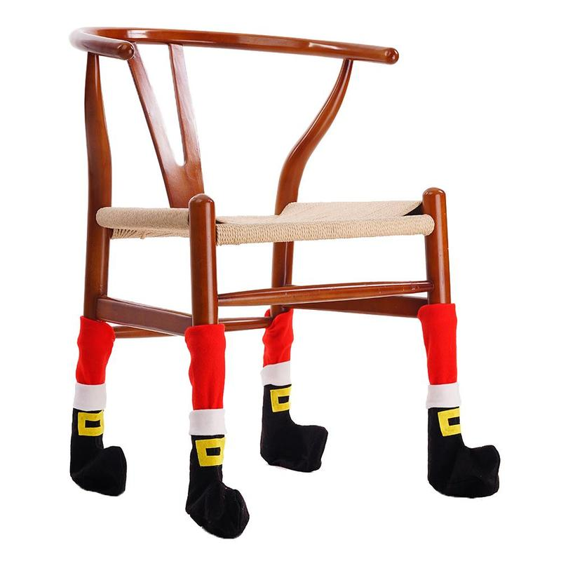 4pcs/set Christmas Chair Foot Caps Chair Foot Table Foot Cloth Cover Furniture Table Wood Floor Protectors Christmas Home Decor