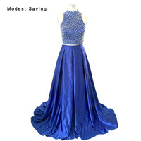Royal Blue Elegant Split Blue A line Pearls Crop Top 2 piece Prom Dresses 2017 Graduation Party Gowns vestidos de baile BE262