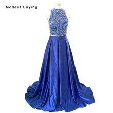Royal Blue Elegant Dividir Azul Una línea de Perlas Camisa corta 2 piezas de Vestidos de Baile 2017 Vestidos de Fiesta de Graduación vestidos de baile BE262