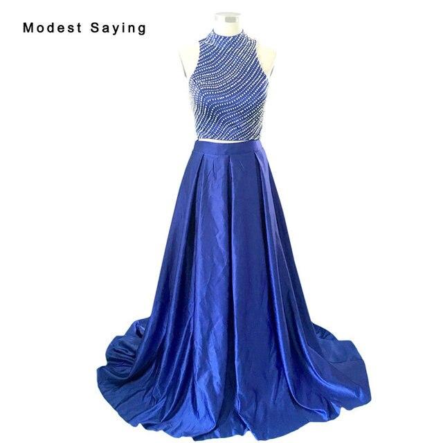 Royal Blue Elegante Split Blau Eine linie Perlen Crop Top 2 stück ...