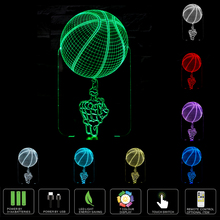 Creative 3D LED USB Night Lights Hand Basketball Shape LED Table Lamp Art Atmosphere Decorations Lights as Holiday Gifts