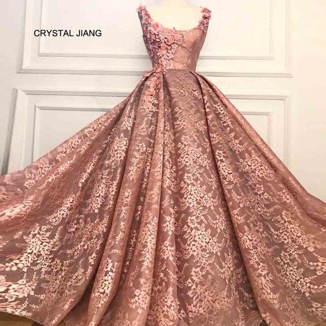 88a65912b72f5e New Fashion 2018 Formal Evening Lace 3D Handmade Flowers Custom Made Floor  Length Vestido De Noiva