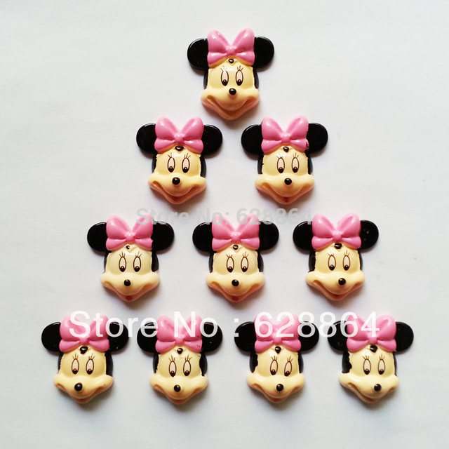 50 pcs Cute Minnie Mouse Pink Bow Resin Embellishments Flatback Flats Scrapbooking for Hair Bows Center Hand Made Crafts DIY