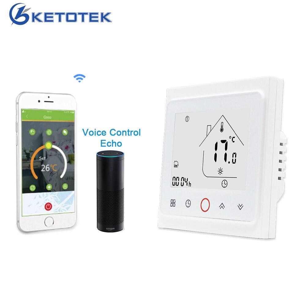 Contrôleur de température intelligent de Thermostat de KETOTEK WiFi pour l'eau/chauffage par le sol électrique eau/chaudière à gaz Programmable universelle