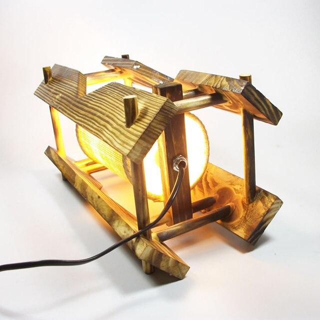 Ретро Деревянный Стол Свет Море Тематические Настольная Лампа Старомодная Настольная Лампа Стол Свет в Стиле Ар-Деко Прикроватные Лампы Для Чтения (ЕС Plug)