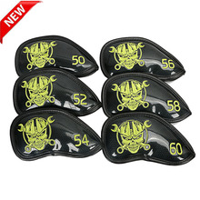 6pcs/lot golf wedge protect cover Bright PU Fabric Embroidered Skull Head Sleeve