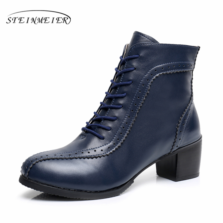 Genuine Leather Handmade Women Ankle Boots Comfortable quality soft Shoes Brand Designer US size 9.5 with fur beige blue spring
