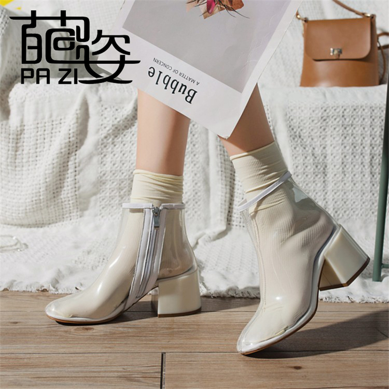 Shoes Women NEW Transparent Clear Lucite Block High Heel Women's Ankle Boot Round Toe Zipper Plastic Ladies Motorcycle Boots