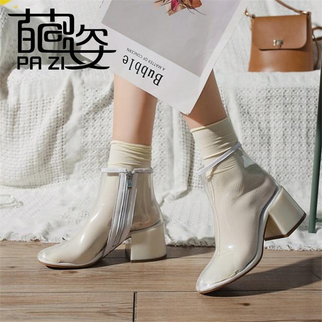 Zapatos de mujer nuevo transparente claro bloque de Lucite tacón alto botas de verano para mujer punta redonda cremallera de plástico para mujer motocicleta botas