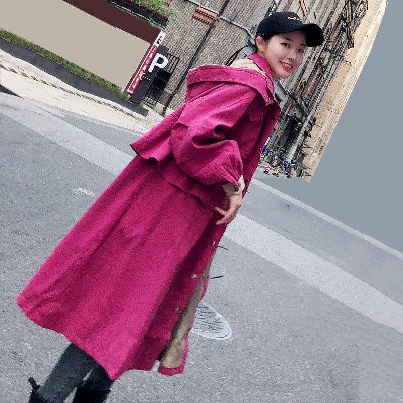 Rose À Manteaux Mode Coupe Nouveau Manteau Mi Lâche 2018 breasted vent Single Long Red Dt0439 De Femmes Automne Printemps Survêtement Tranchée Capuchon Femelle xPwpgqp1