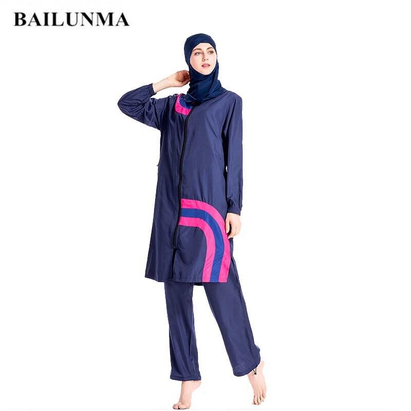 FRPE-Women Muslim Hijab Swimsuit Full Cover Islamic Rash Guard Beachwear