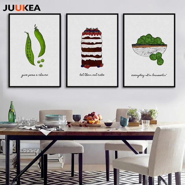 Us 613 20 Offnowoczesne Gotowanie Grochu Ciasto Warzywa Zieleni Na Płótnie Malarstwo Plakaty Art Obrazy ścienne Dla Kuchni Restauracji Wystrój
