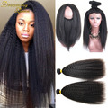 New Arrival 7A Kinky Straight With 360 Lace Closure 360 Lace Frontal With Bundles Burmese Coarse Yaki Lace Frontal With Bundles
