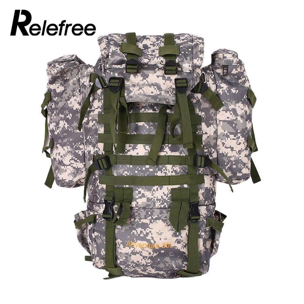 Relefree 80L Outdoor Military Tactical Camouflage Bag Large Capacity Men Women Camping Hiking Waterproof Travel Backpack 65l professional outdoor mountaineering bag camouflage bag large capacity multi function camping hiking backpack outdoor travel