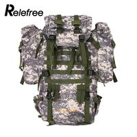 Relefree 80L Outdoor Military Tactical Camouflage Bag Large Capacity Men Women Camping Hiking Waterproof Travel Backpack