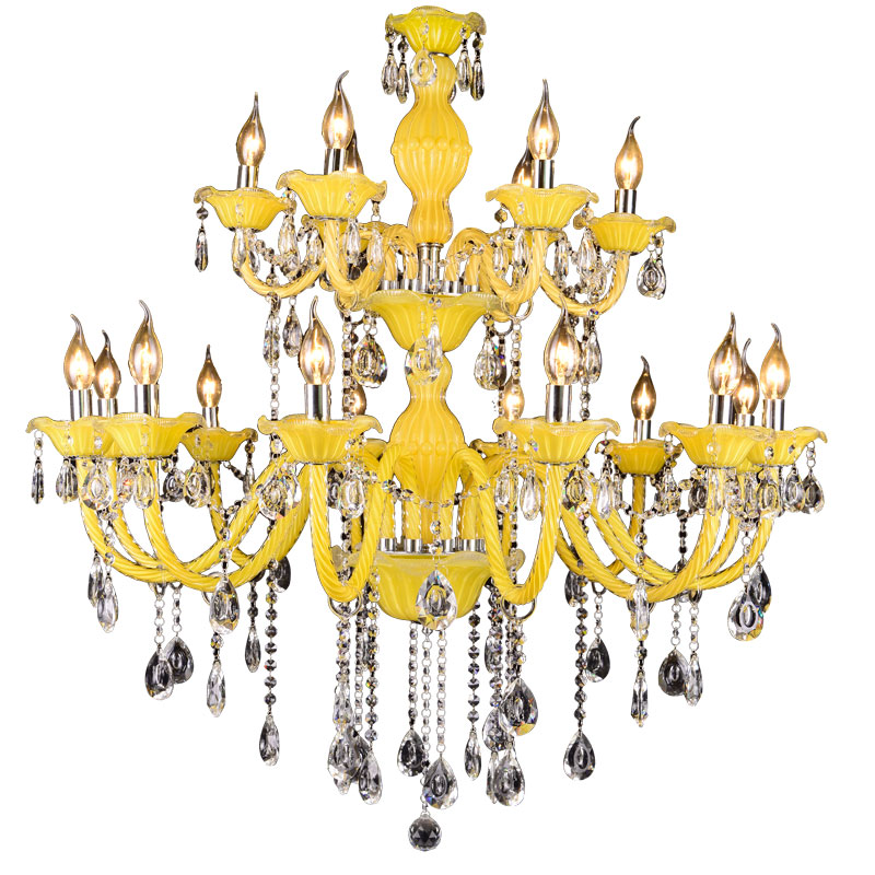Crystal Chandelier Quality Types: Modern Crystal Chandeliers Lemon Yellow Ceiling Decor