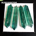 Natural green fluorite crystal raw stone grinding double pointed crystal column 8-11cm Crystal craftwork Runyangshi ZL37