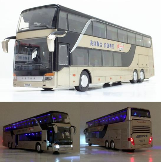 Sale High quality <font><b>1:32</b></font> alloy pull back bus <font><b>model</b></font>,high imitation Double sightseeing bus,flash toy vehicle, free shipping image