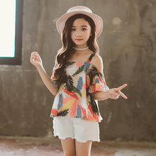 Girls suit summer cotton printed sling tops + denim casual shorts sports childrens clothing