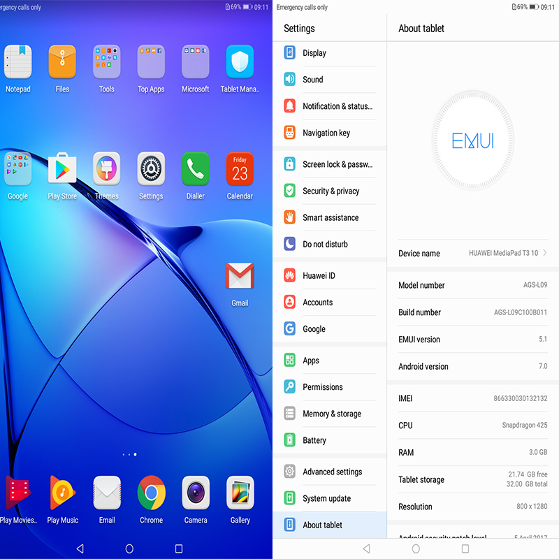 Global ROM Original HUAWEI MediaPad T3 10 Android 7 0 WIFI
