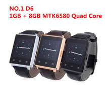 Smart Watch NO.1 D6 1GB RAM 8GB ROM MTK6580 Quad Core 1.63 Inch Android 5.1 For Samsung XiaoMi Support Health Monitor GPS WIFI