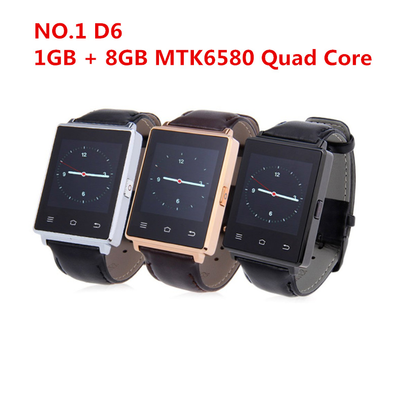 Smart Watch NO.1 D6 1GB RAM 8GB ROM MTK6580 Quad Core 1.63 Inch Android 5.1 For Samsung XiaoMi Support Health Monitor GPS WIFI цена и фото