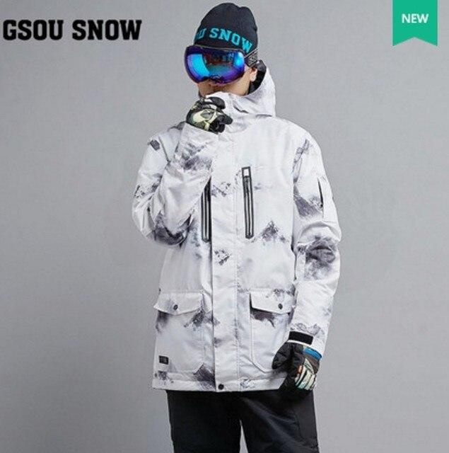 2017 mens white ski jacket male riding snowboarding skiing jacket snow coat  skiwear waterproof 10K windproof breathable warm c80892fe5