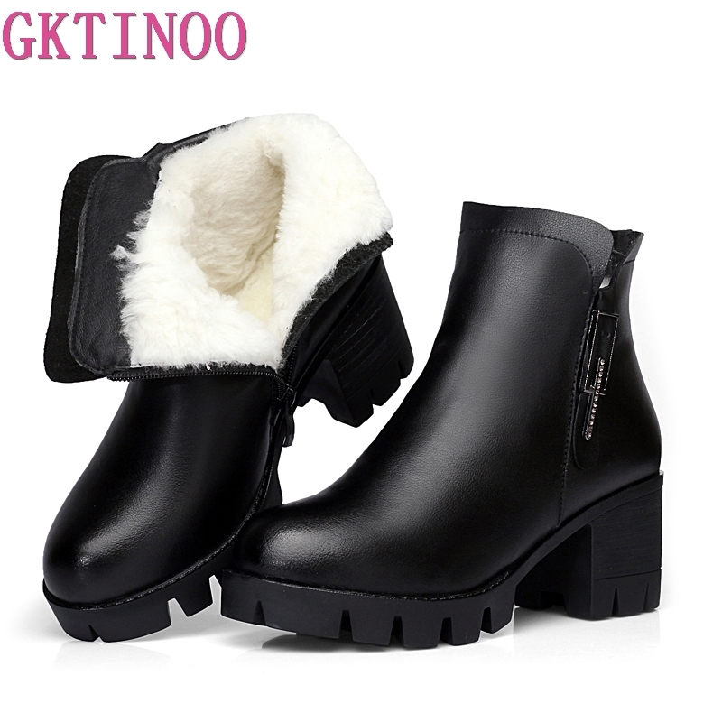 GKTINOO Genuine Leather Comfortable Women Ankle Boots Winter Warm Wool Snow Boots Thick Heel Platform Shoes Woman Fashion Boots hot sale women boots 2017 new fashion shoes woman genuine leather square heel ankle boots winter warm wool snow rivet boots