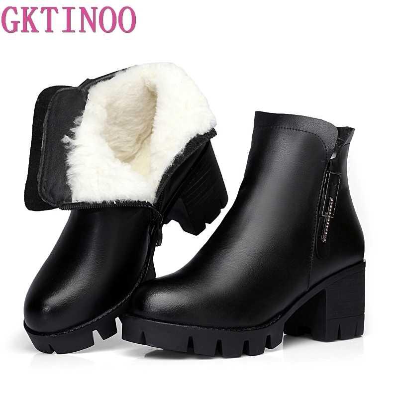 GKTINOO Hakiki Deri Rahat Kadın yarım çizmeler Kış sıcak Yün Kar Botları Kalın Topuk platform ayakkabılar Kadın Moda Botları
