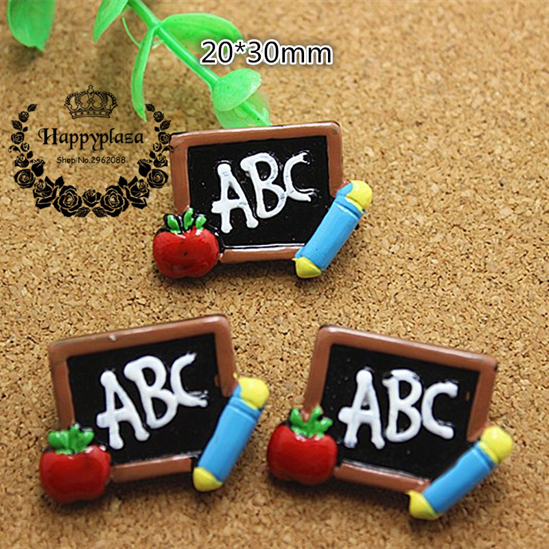 10pcs Student Back-to-School Season Letter ABC On The Blackboard Flatback Cabochon DIY Craft Decoration,20*30mm