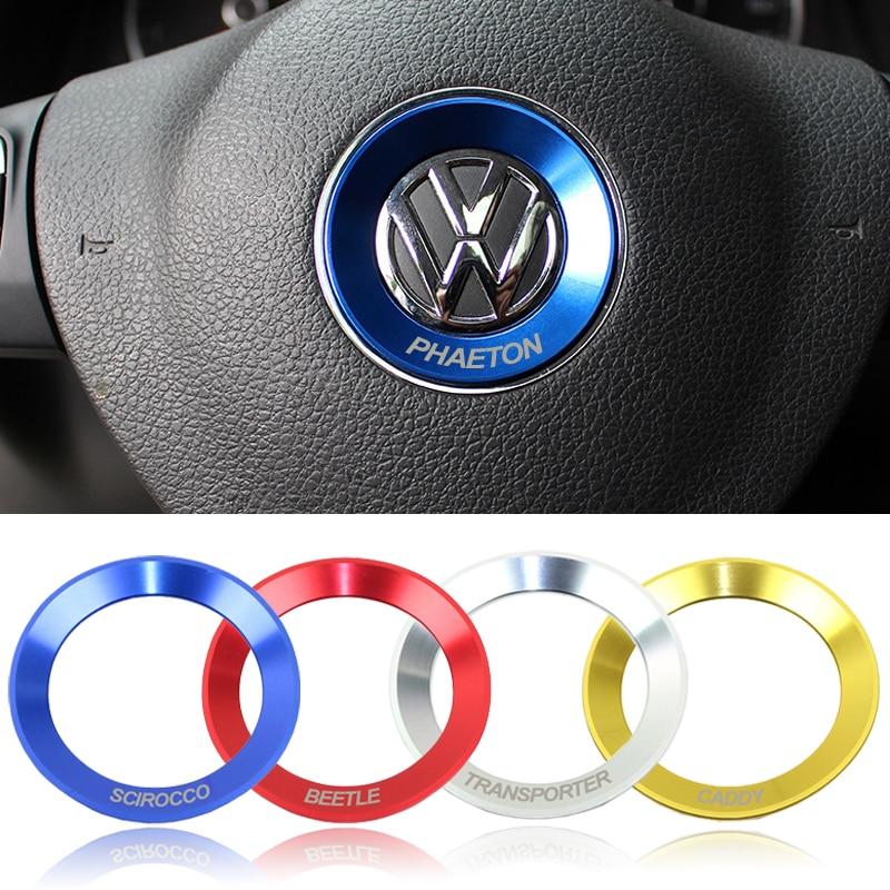 Car Steering Wheel Decoration Circle Ring Sticker Cover For Volkswagen TRANSPORTER CADDY BEETLE SCIROCCO TOURAN AMAROK PHAETON