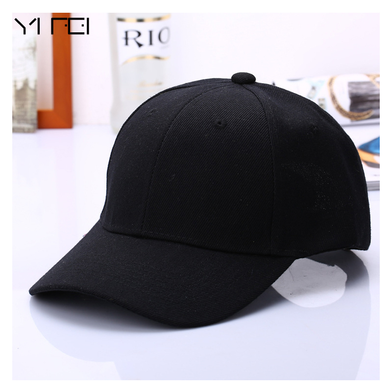 yanyanmumu 2018 Black Solid Color Baseball Cap Snapback Caps Casquette Fitted Casual