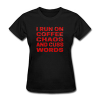 I Runer On Coffee Chaos And Cuss Words Letter Print Patchwork Short Sleeve T Shirt Women Cool Summer Ladies Girls Cotton Tshirt
