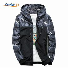 Covrlge Spring Autumn Mens Casual Camouflage Hoodie Jacket Men Waterproof Clothes Windbreaker Coat Male Outwear MWJ095
