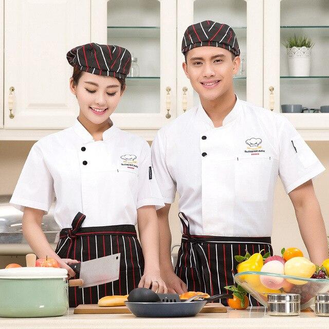 1 Piece Hanya A Chef Seragam Uni Lengan Pendek Top Jaket Dapur Pakaian