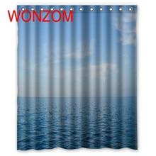 купить WONZOM 3D Polyester Sea Shower Curtains with 12 Hooks For Bathroom Decor Modern Bath Waterproof Curtain Bathroom Accessories дешево
