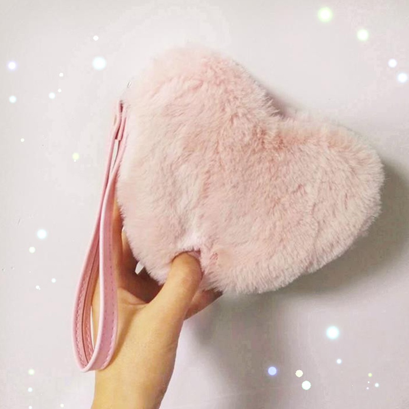 Faux Fur Coin Bags Women Holographic Laser Card Holder Purse Sweet Lady Pink Heart Shape Clutch Bags Female Small Wallet