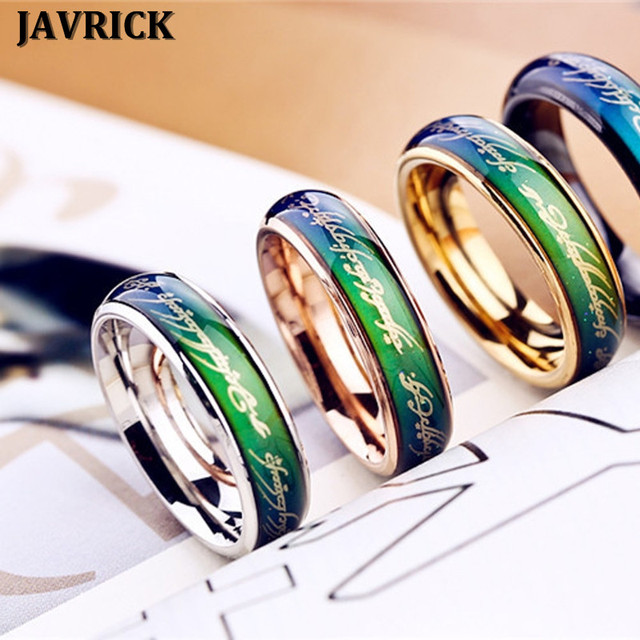 Javrick Heartbeat Ecg Mood Ring Color Temperature Changing Magic Wedding Rings