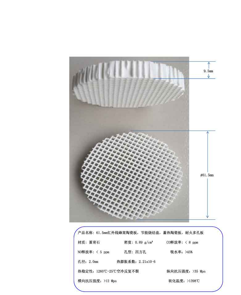 61.5mm Infrared Honeycomb Ceramic Plate Refractory Perforated Plate цена 2017
