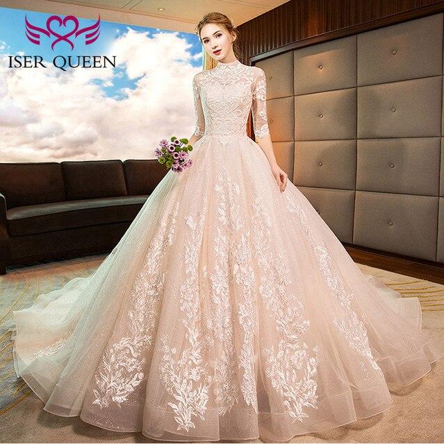 Винтажное кружевное свадебное платье с высоким вырезом и коротким рукавом, с вышивкой, 2020, с открытой спиной, с вырезами, бальное платье для невесты WX0160