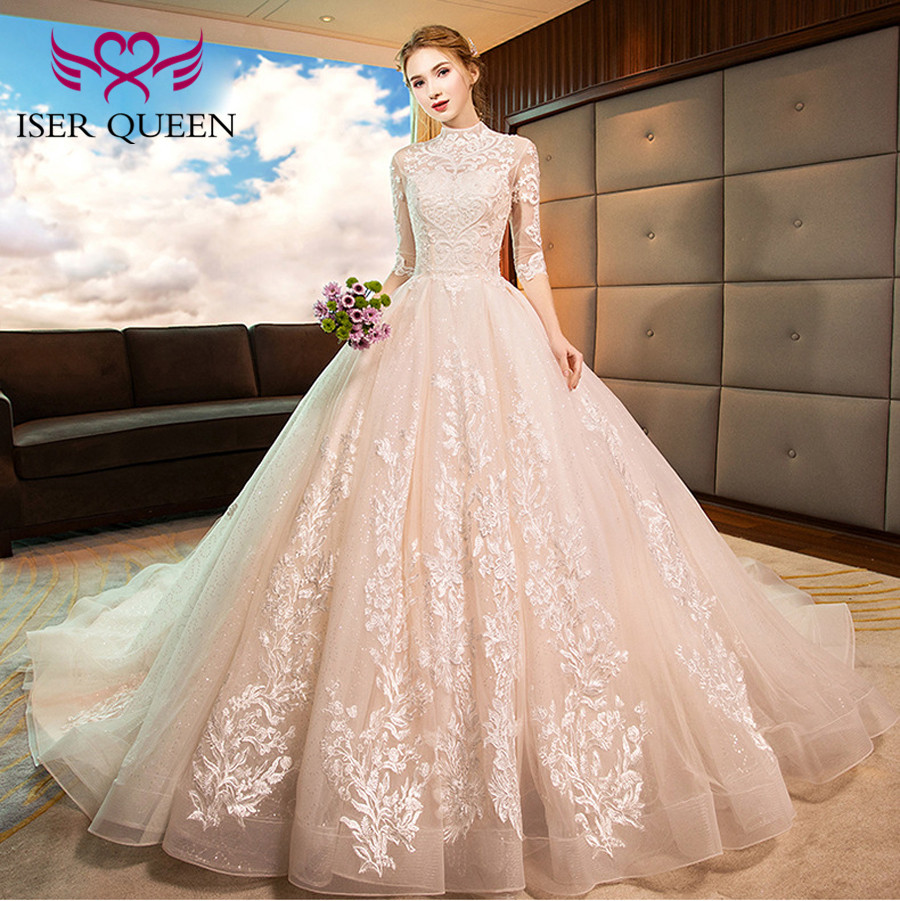 High Neckline Illusion Vintage Half Sleeves Fancy Embroidery Wedding Gown Sequined Backless Hollow Ball Gown Train Tulle WX0160-in Wedding Dresses from Weddings & Events