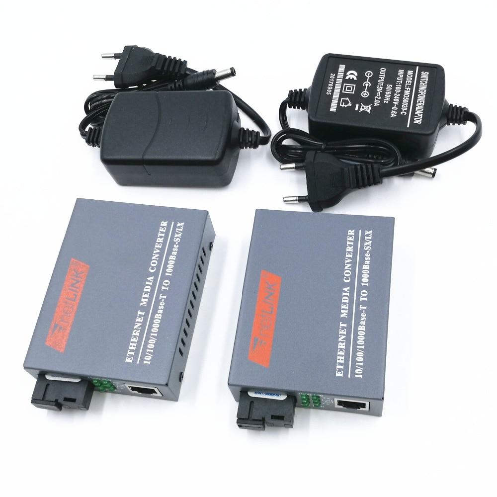 1 Pair HTB GS 03 A B Gigabit Fiber Optical Media Converter 1000Mbps Single Mode Single Fiber SC Port External Power Supply in Fiber Optic Equipments from Cellphones Telecommunications