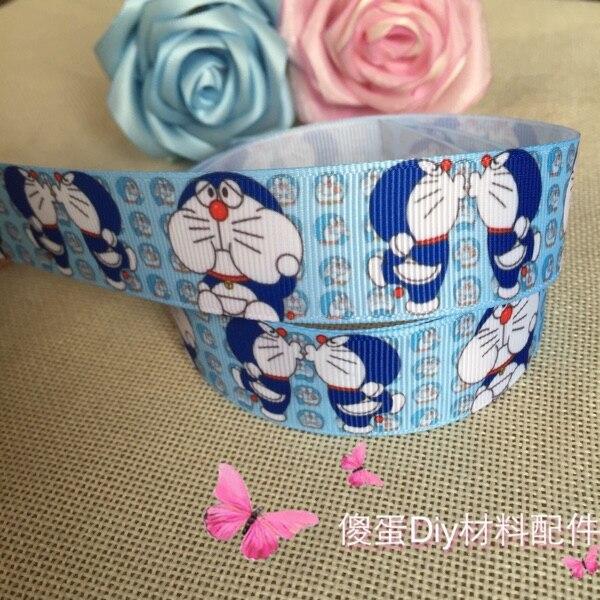 1 25MM lively Doraemon printed ribbon diy headwear printed grosgrain ribbon gift wrap decoration ribbons