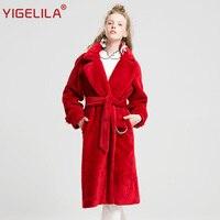 YIGELILA 9500 последние зимние модные красные отложной воротник широкий талией Ремень халат Дизайн Для женщин длинные искусственная шерсть паль