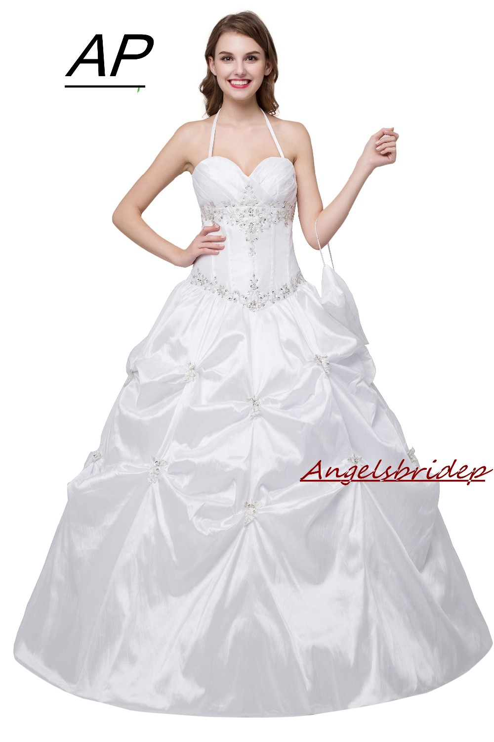 ANGELSBRIDEP Quinceanera Dresses For 15 Party Formal Halter White Debutante Gown Embroidery Floor Length Vestidos De